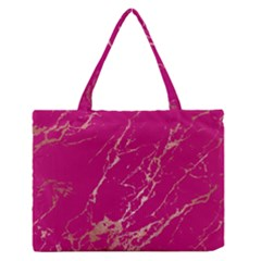 Luxurious Pink Marble Zipper Medium Tote Bag