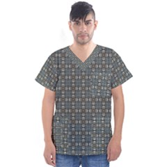Earth Tiles Men s V Neck Scrub Top by KirstenStar
