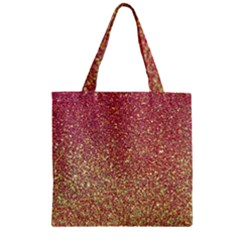 Rose Gold Sparkly Glitter Texture Pattern Zipper Grocery Tote Bag by paulaoliveiradesign