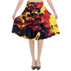 Abstract Acryl Art Flared Midi Skirt by tarastyle