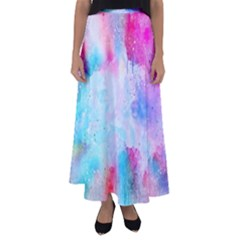 Pink And Purple Galaxy Watercolor Background  Flared Maxi Skirt