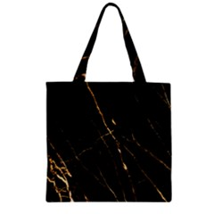 Black Marble Zipper Grocery Tote Bag by 8fugoso