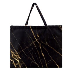 Black Marble Zipper Large Tote Bag by 8fugoso