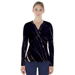 Black Marble V Neck Long Sleeve Top by 8fugoso