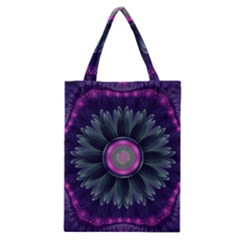 Beautiful Hot Pink And Gray Fractal Anemone Kisses Classic Tote Bag by jayaprime