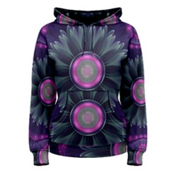 Beautiful Hot Pink And Gray Fractal Anemone Kisses Women s Pullover Hoodie by jayaprime