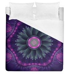 Beautiful Hot Pink And Gray Fractal Anemone Kisses Duvet Cover (queen Size) by jayaprime