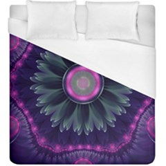 Beautiful Hot Pink And Gray Fractal Anemone Kisses Duvet Cover (king Size) by beautifulfractals