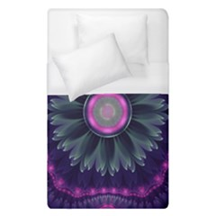 Beautiful Hot Pink And Gray Fractal Anemone Kisses Duvet Cover (single Size) by jayaprime