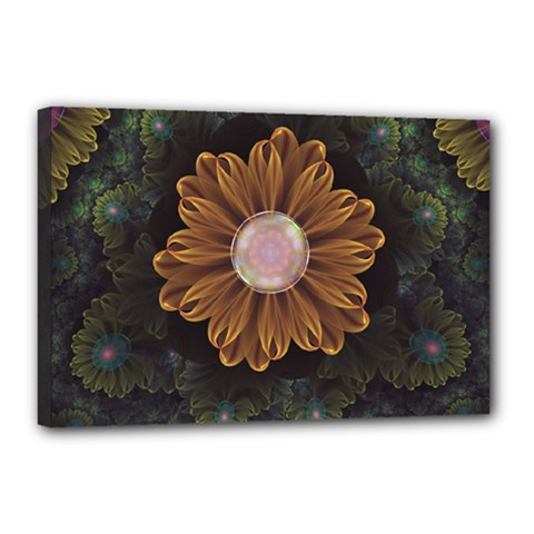Abloom In Autumn Leaves With Faded Fractal Flowers Canvas 18  X 12  by jayaprime