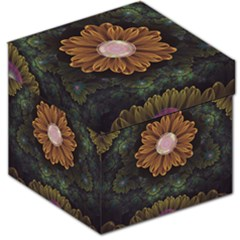 Abloom In Autumn Leaves With Faded Fractal Flowers Storage Stool 12   by beautifulfractals