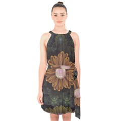 Abloom In Autumn Leaves With Faded Fractal Flowers Halter Collar Waist Tie Chiffon Dress