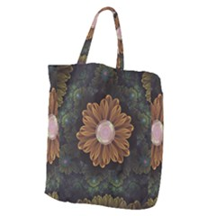 Abloom In Autumn Leaves With Faded Fractal Flowers Giant Grocery Zipper Tote by beautifulfractals