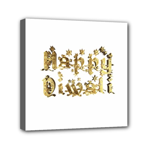 Happy Diwali Gold Golden Stars Star Festival Of Lights Deepavali Typography Mini Canvas 6  X 6  by yoursparklingshop