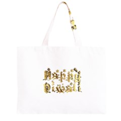 Happy Diwali Gold Golden Stars Star Festival Of Lights Deepavali Typography Zipper Large Tote Bag by yoursparklingshop