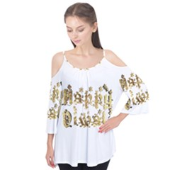 Happy Diwali Gold Golden Stars Star Festival Of Lights Deepavali Typography Flutter Tees by yoursparklingshop