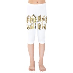 Happy Diwali Gold Golden Stars Star Festival Of Lights Deepavali Typography Kids  Capri Leggings  by yoursparklingshop
