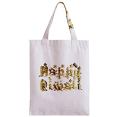 Happy Diwali Gold Golden Stars Star Festival Of Lights Deepavali Typography Zipper Classic Tote Bag by yoursparklingshop
