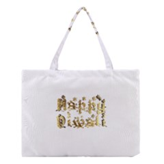 Happy Diwali Gold Golden Stars Star Festival Of Lights Deepavali Typography Medium Tote Bag by yoursparklingshop