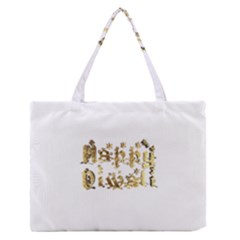 Happy Diwali Gold Golden Stars Star Festival Of Lights Deepavali Typography Zipper Medium Tote Bag by yoursparklingshop