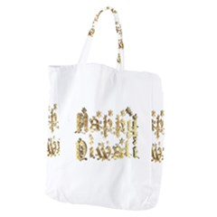 Happy Diwali Gold Golden Stars Star Festival Of Lights Deepavali Typography Giant Grocery Zipper Tote by yoursparklingshop