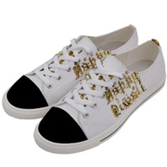 Happy Diwali Gold Golden Stars Star Festival Of Lights Deepavali Typography Women s Low Top Canvas Sneakers by yoursparklingshop