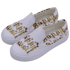 Happy Diwali Gold Golden Stars Star Festival Of Lights Deepavali Typography Kids  Canvas Slip Ons by yoursparklingshop