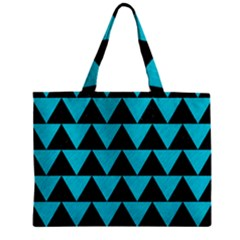 Triangle2 Black Marble & Turquoise Colored Pencil Zipper Mini Tote Bag by trendistuff