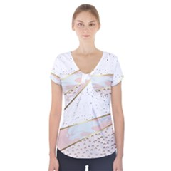 Collage,white Marble,gold,silver,black,white,hand Drawn, Modern,trendy,contemporary,pattern Short Sleeve Front Detail Top by 8fugoso