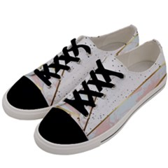 Collage,white Marble,gold,silver,black,white,hand Drawn, Modern,trendy,contemporary,pattern Men s Low Top Canvas Sneakers by 8fugoso