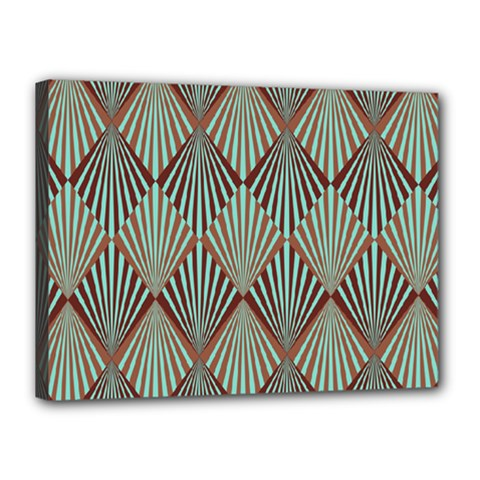 Art Deco Teal Brown Canvas 16  X 12  by 8fugoso