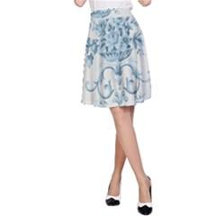 Blue Vintage Floral  A Line Skirt by 8fugoso