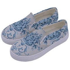 Blue Vintage Floral  Kids  Canvas Slip Ons by 8fugoso