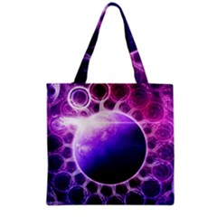Beautiful Violet Nasa Deep Dream Fractal Mandala Grocery Tote Bag by jayaprime