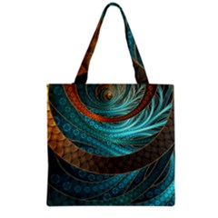 Beautiful Leather & Blue Turquoise Fractal Jewelry Grocery Tote Bag by jayaprime