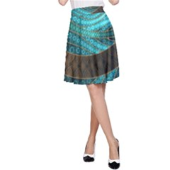 Beautiful Leather & Blue Turquoise Fractal Jewelry A Line Skirt by beautifulfractals