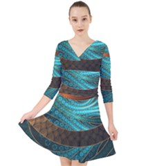 Beautiful Leather & Blue Turquoise Fractal Jewelry Quarter Sleeve Front Wrap Dress