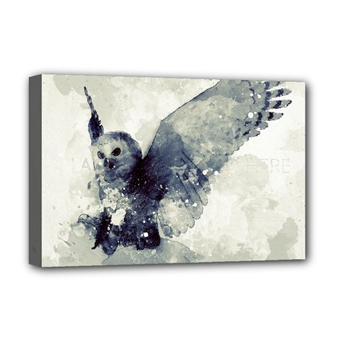 Cute Owl In Watercolor Deluxe Canvas 18  X 12   by FantasyWorld7