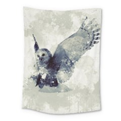 Cute Owl In Watercolor Medium Tapestry by FantasyWorld7