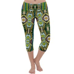 Bread Sticks And Fantasy Flowers In A Rainbow Capri Yoga Leggings by pepitasart