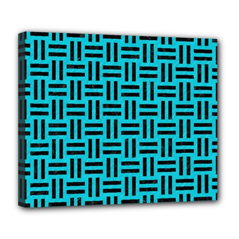 Woven1 Black Marble & Turquoise Colored Pencil Deluxe Canvas 24  X 20   by trendistuff