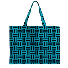 Woven1 Black Marble & Turquoise Colored Pencil Zipper Mini Tote Bag by trendistuff