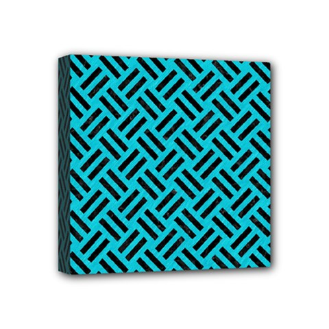 Woven2 Black Marble & Turquoise Colored Pencil Mini Canvas 4  X 4  by trendistuff