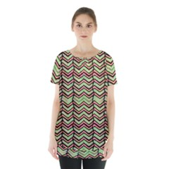 Zig Zag Multicolored Ethnic Pattern Skirt Hem Sports Top by dflcprintsclothing