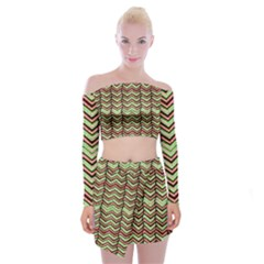 Zig Zag Multicolored Ethnic Pattern Off Shoulder Top With Mini Skirt Set by dflcprintsclothing