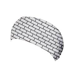Brick1 Black Marble & White Leather Yoga Headband by trendistuff