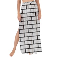 Brick1 Black Marble & White Leather Maxi Chiffon Tie Up Sarong