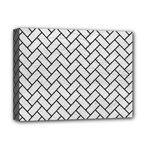 Brick2 Black Marble & White Leather Deluxe Canvas 16  X 12   by trendistuff