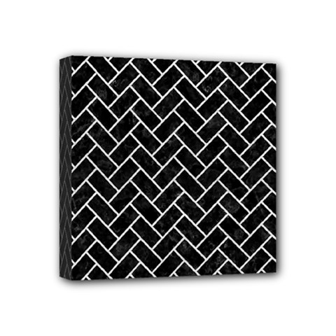 Brick2 Black Marble & White Leather (r) Mini Canvas 4  X 4  by trendistuff