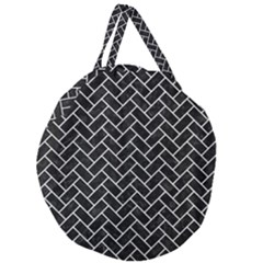 Brick2 Black Marble & White Leather (r) Giant Round Zipper Tote by trendistuff
